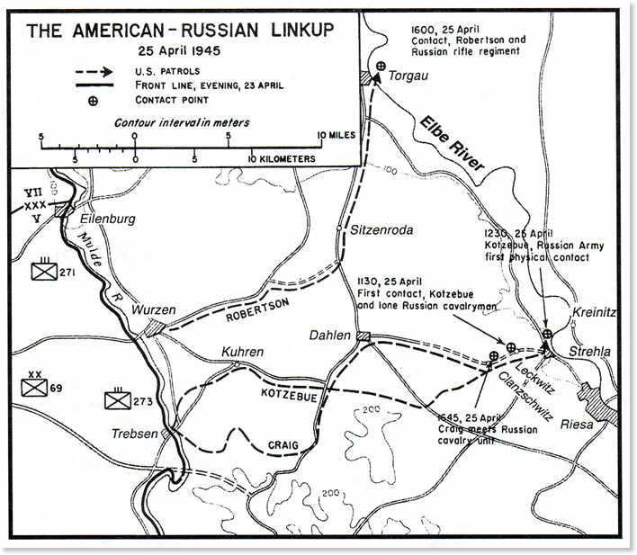 Figure 3: The American-Russian Linkup Map showing the locations of the 69th Inf Div 273rd Inf Rgt's first contact with elements of the Soviet 58th Guards: (1) 1130 & 1230 Kotzebue Patrol, (2) 1600 Robertson Patrol, and (3) 1645 Craig Patrol. (1130=11:30 AM; 1230=12:30 PM; 1600=4:00 PM; 1645=4:45 PM).