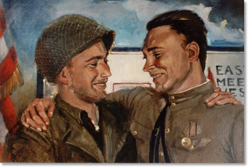 Figure 2: American 2nd Lt. William D. Robertson (left, 69th Infantry Division) and Soviet Lt. Alexander Silvashko (right, 58th Guards Division) embrace in a 50th Anniversary painting of the Link-Up. They were leaders of their respective patrols that met at 1600 on the blasted Elbe River Torgau Bridge on 25-April-1945. This painting was commissioned for Elbefest 2005. For more information on this painting and the event it comemorates, click here.