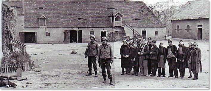 "Figure 6. Kotzebue Patrol 11:30AM. At this farmhouse courtyard near Leckwitz, Germany stands 1st Lt. Albert L. Kotzebue, Co G 273rd Inf Rgt with one of his men, where at 11:30 AM, April 25, 1945 elements of his patrol met a lone Soviet cavalryman from Kazakhstan. The first meeting of the Americans and Russians in WWII. ""He was extremly reticent. He was quiet, reserved, aloof, not enthusiastic. The first meeting of the two Armies certainly was not one of wild joy, but rather of cautious fencing. Or, perhaps, the Russian was just plain stupified and couldn't realize what had happened."