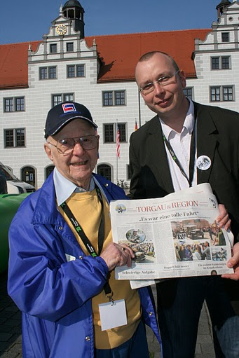 Joe & Anne Lipsius represented the 69th Infantry Division at Elbe Day 2010. Joe is shown here with Rene Vetter, Torgau Press Secretary, April 23-25, 2010 — the 65th Anniversary of the Link-Up between the American 69th Infantry Division and the 58th Soviet Guards Division at the Elbe River on April 25, 1945