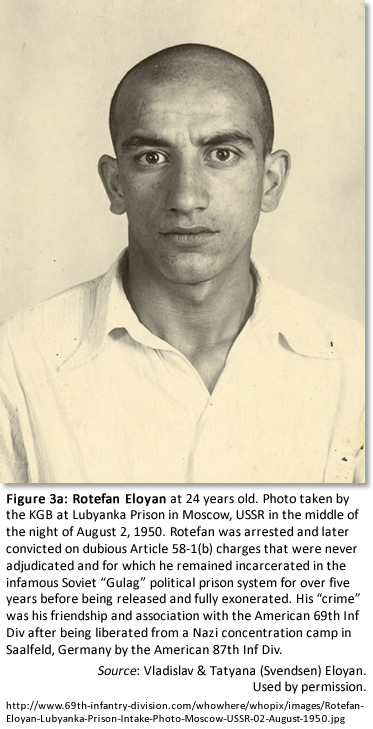 "Figure 3a: Rotefan Eloyan at 24 years old. Photo taken by the KGB at Lubyanka Prison in Moscow, USSR in the middle of the night of August 2, 1950. Rotefan was arrested and later convicted on dubious Article 58-1(b) charges that were never adjudicated and for which he remained incarcerated in the infamous Soviet ""Gulag"" political prison system for five years before being released and fully exonerated. His ""crime"" was his friendship and association with the American 69th Inf Div after being liberated from a Nazi concentration camp in Saalfeld, Germany by the American 87th Inf Div. Source: Vladislav & Tatyana (Svendsen) Eloyan. Used by permission."